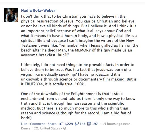 Nadia Bolz Weber Facebook post